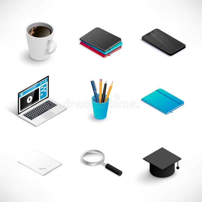 Milieu isométrique d'ensemble d'icône d'éducation illustration libre de droits