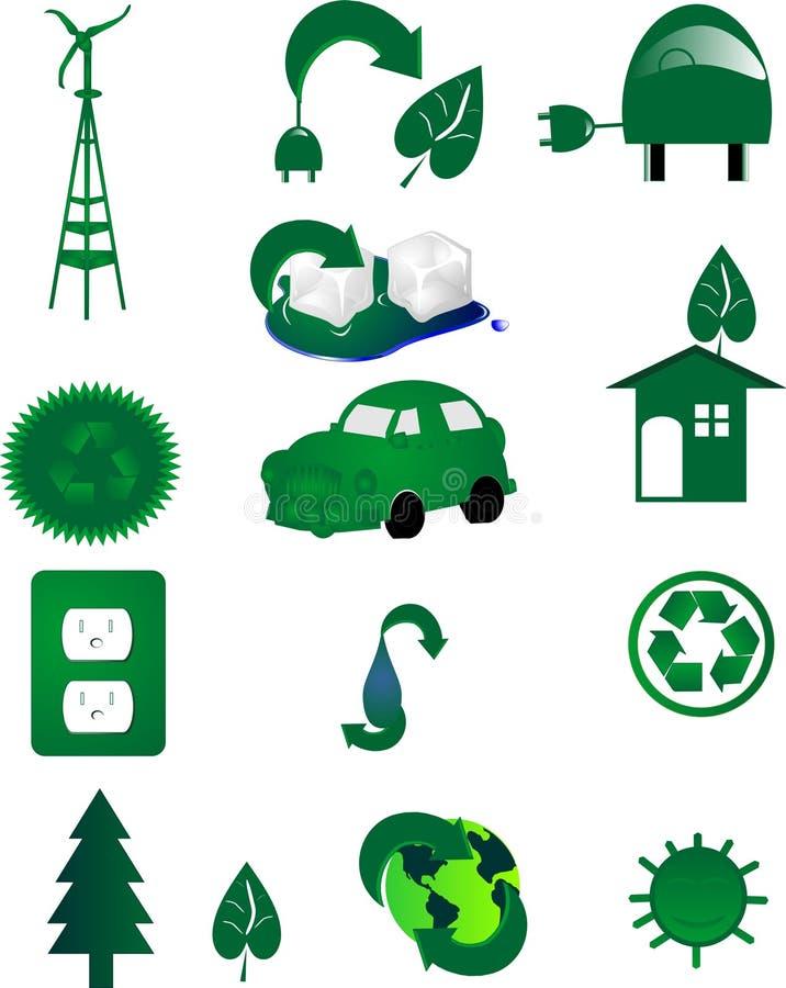 Milieu pictogrammen voor groen Go. in de wereld. stock illustratie