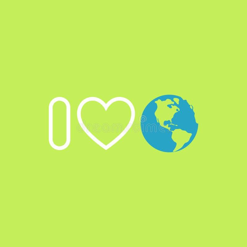 milieubescherming concept Ik houd van aarde De Affiche van de aardedag royalty-vrije illustratie