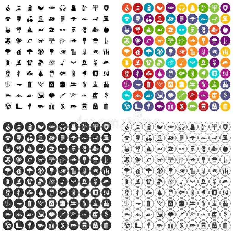100 milieubescherming pictogrammen geplaatst vectorvariant vector illustratie