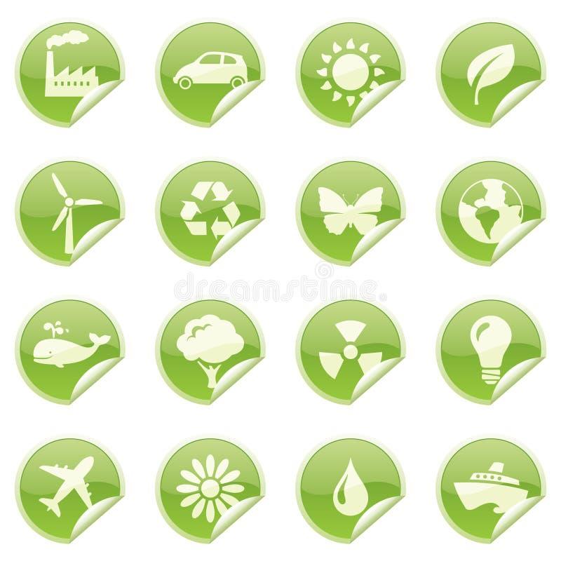 Milieustickers stock illustratie