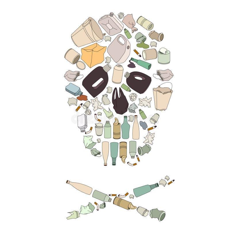 Milieuverontreiniging Schedel gek van huisvuil royalty-vrije illustratie