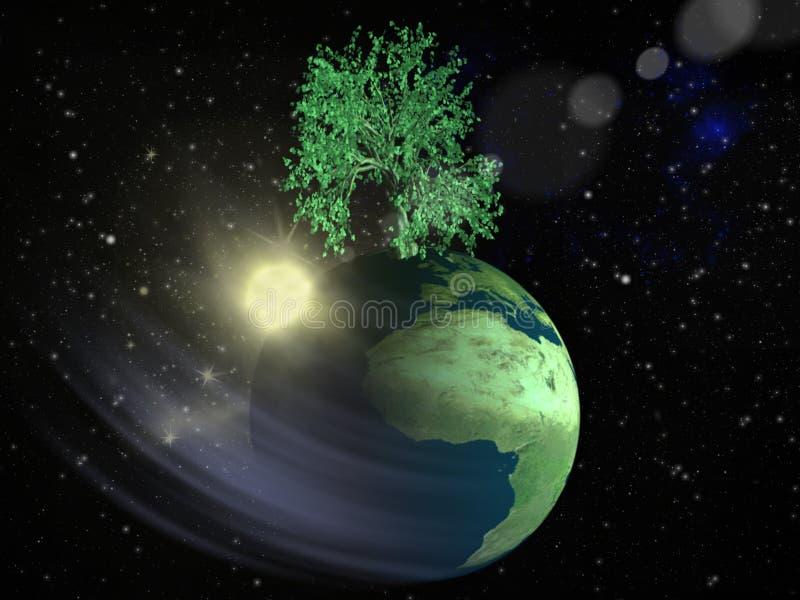 Milieuvriendelijk in ruimte stock illustratie