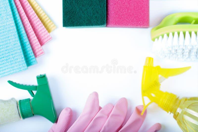 Milieuvriendelijke natuurlijke reinigingsmachines, schoonmakende producten stock fotografie