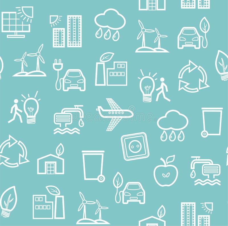 Milieuvriendelijke technologie, naadloos patroon, blauw, zwart-wit contourtekening, vector royalty-vrije illustratie