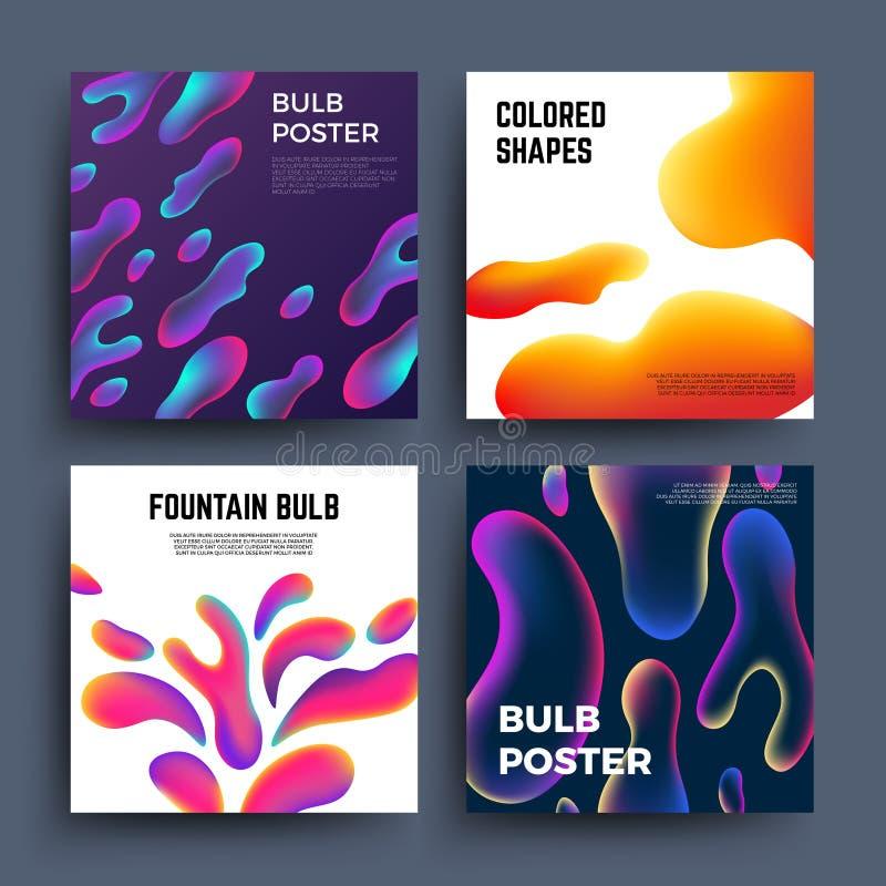 Milieux abstraits avec des formes colorées par fluide Affiches liquides magiques de vecteur de molécules de coloration illustration stock