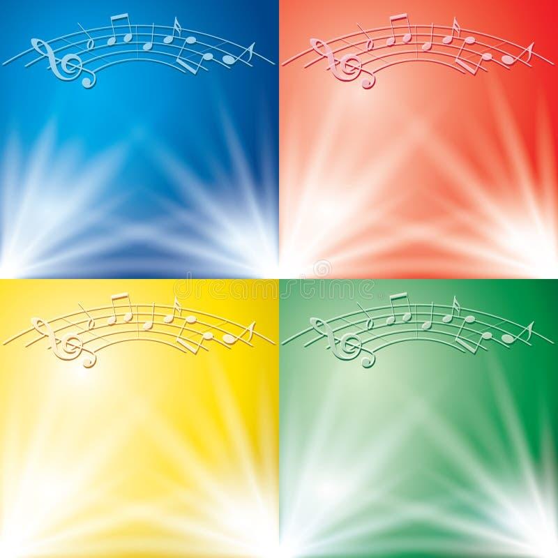 Milieux abstraits avec les faisceaux lumineux et notes de musique pour la musique illustration libre de droits