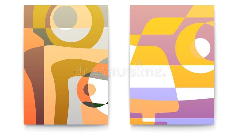 Milieux abstraits pour le menu de café Rétros calibres de conception pour la carte de menu de restaurant Ensemble de cartes pour  illustration de vecteur