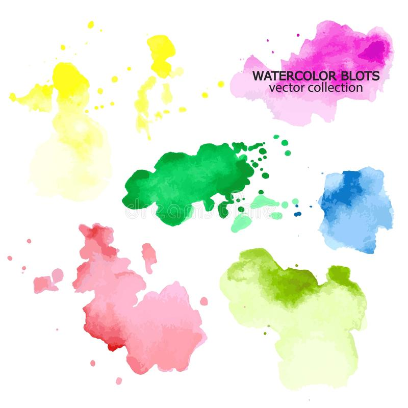 Milieux colorés de taches de peinture d'aquarelle de couleurs réglés illustration de vecteur