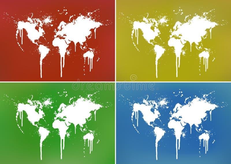 Milieux d'éclaboussure de carte du monde illustration stock