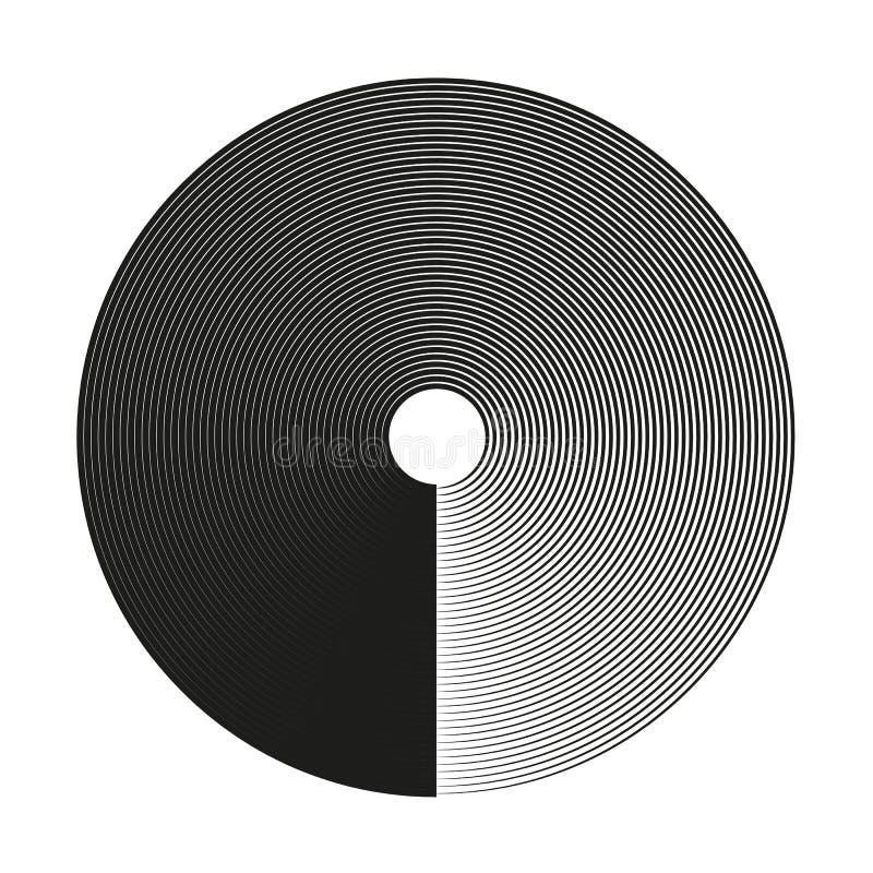Milieux d'éléments de cercle concentrique Configuration abstraite de cercle Graphiques noirs et blancs illustration de vecteur