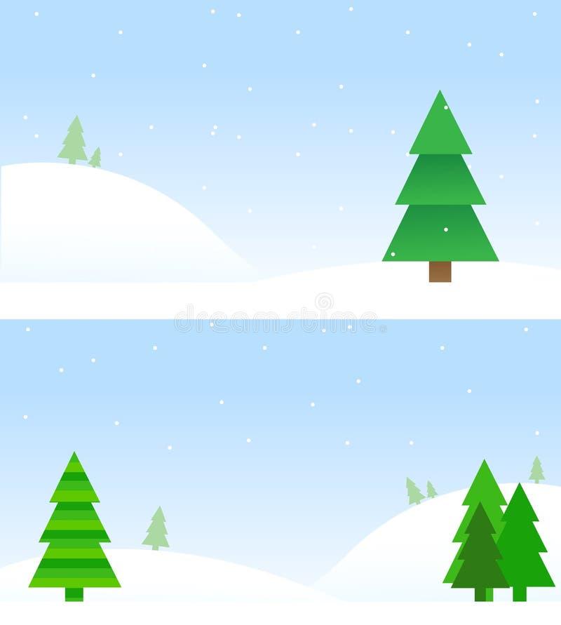 Milieux d'arbre de Noël sur la neige illustration de vecteur