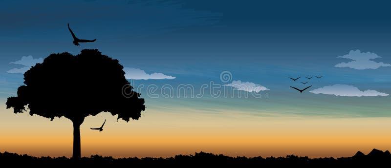 Milieux d'art abstrait de safari de coucher du soleil illustration libre de droits