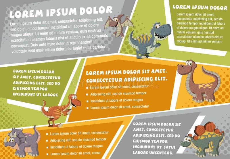 Milieux de brochure de vecteur avec des dinosaures de bande dessinée illustration libre de droits
