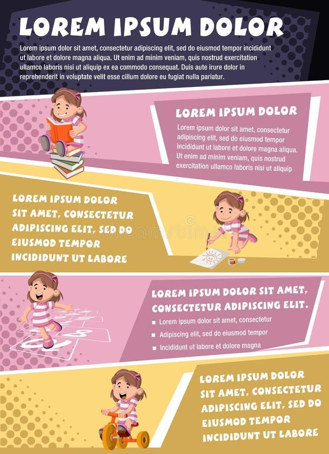 Milieux de brochure de vecteur avec jouer de fille de bande dessinée illustration de vecteur