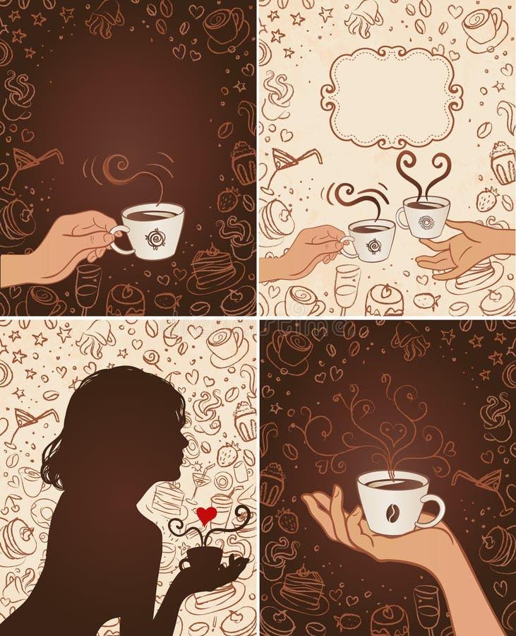 Milieux de griffonnage de café réglés illustration libre de droits
