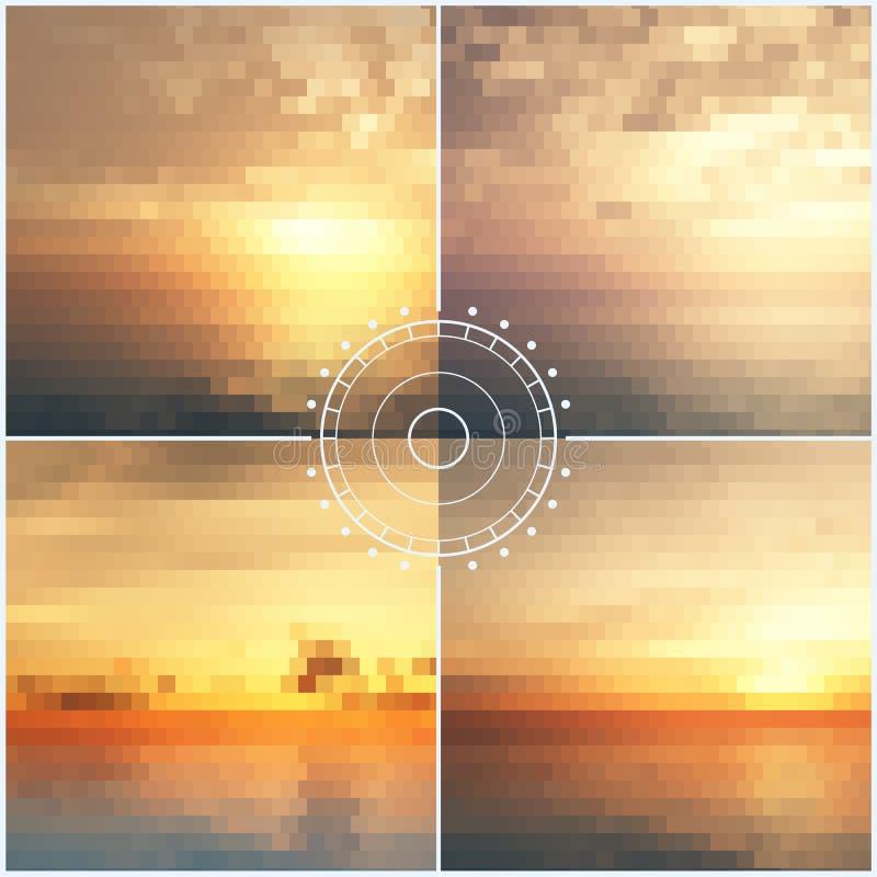 Milieux de mosaïque de coucher du soleil d'océan illustration stock