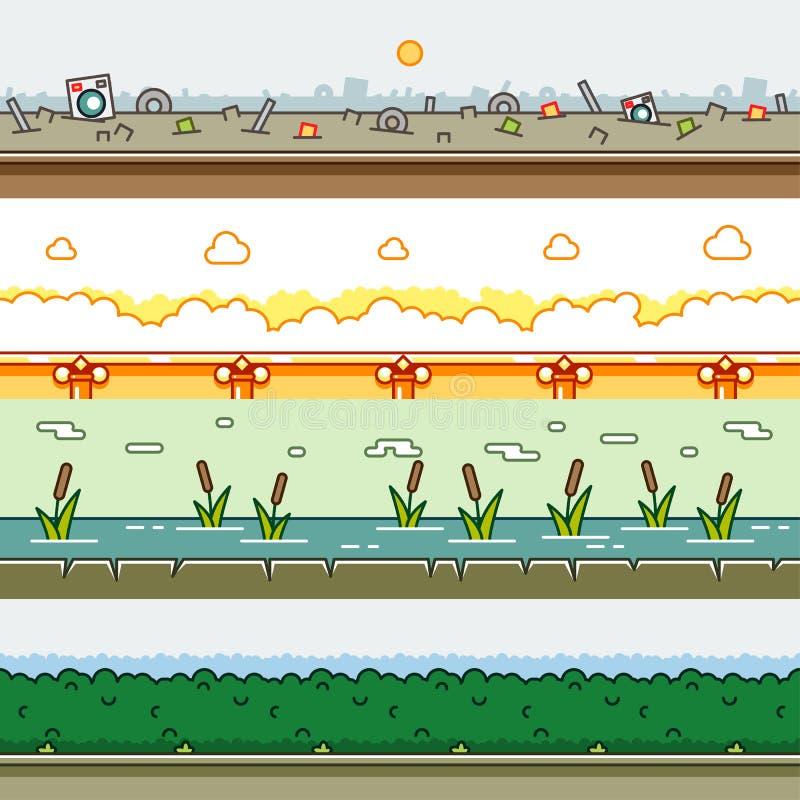 Milieux de parallaxe pour l'ensemble 15 de jeux vidéo illustration stock