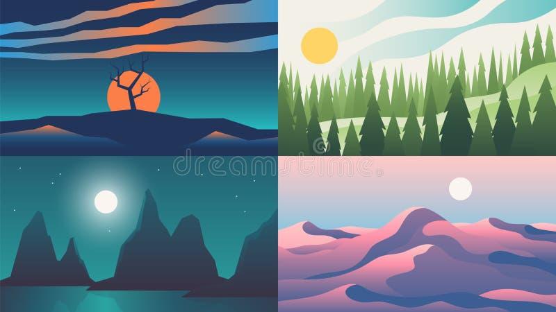 Milieux de paysage Ciel plat de coucher du soleil de nuit avec des montagnes sur l'horizon, paysage de nature de bande dessinée A illustration stock