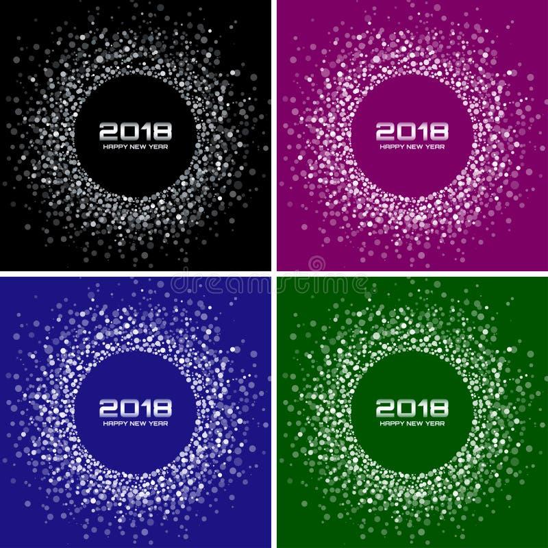 Milieux de vecteur de cartes en liasse de la bonne année 2018 La disco colorée lumineuse allume les cadres tramés de cercle illustration stock