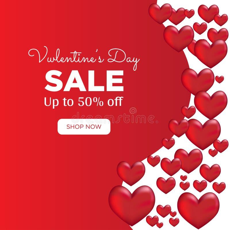 Milieux de vente de jour de valentines avec la forme de coeur illustration libre de droits