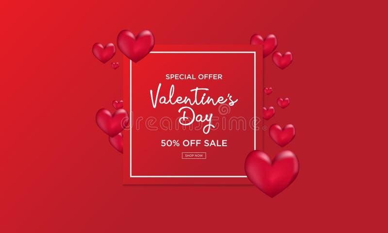 Milieux de vente de Saint-Valentin avec la forme de coeur illustration de vecteur