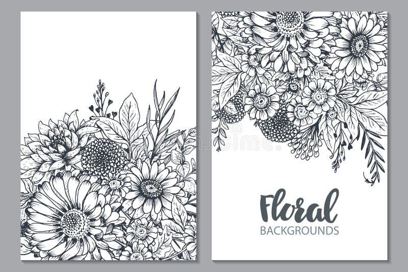 Milieux floraux avec les fleurs et les plantes tirées par la main illustration stock