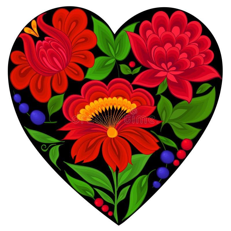 Milieux floraux, coeur illustration de vecteur