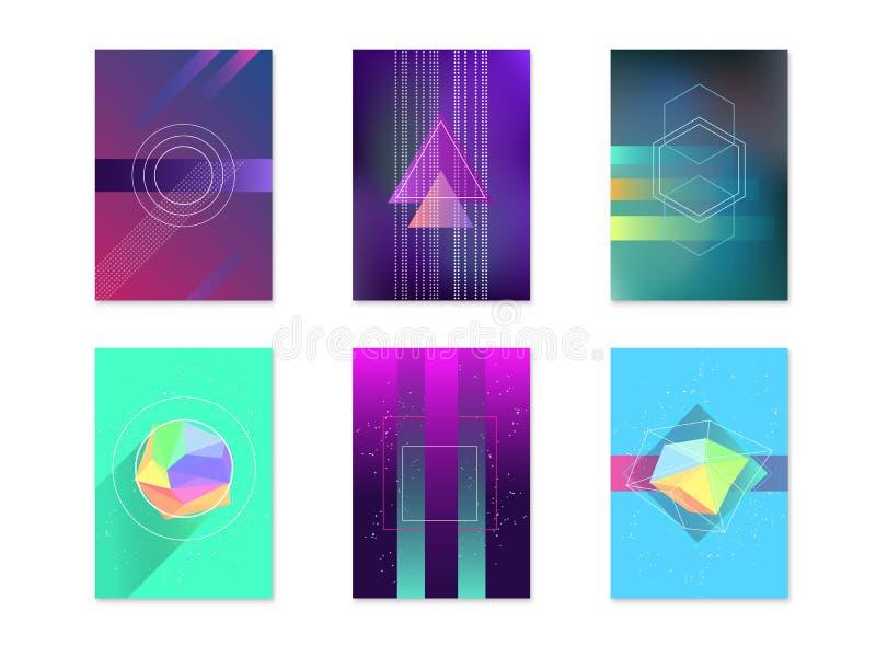 Milieux géométriques d'abrégé sur couleur de sorcière de carte d'affiches réglés Vecteur illustration de vecteur