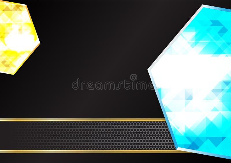 Milieux géométriques de diamant bleu et jaune illustration de vecteur