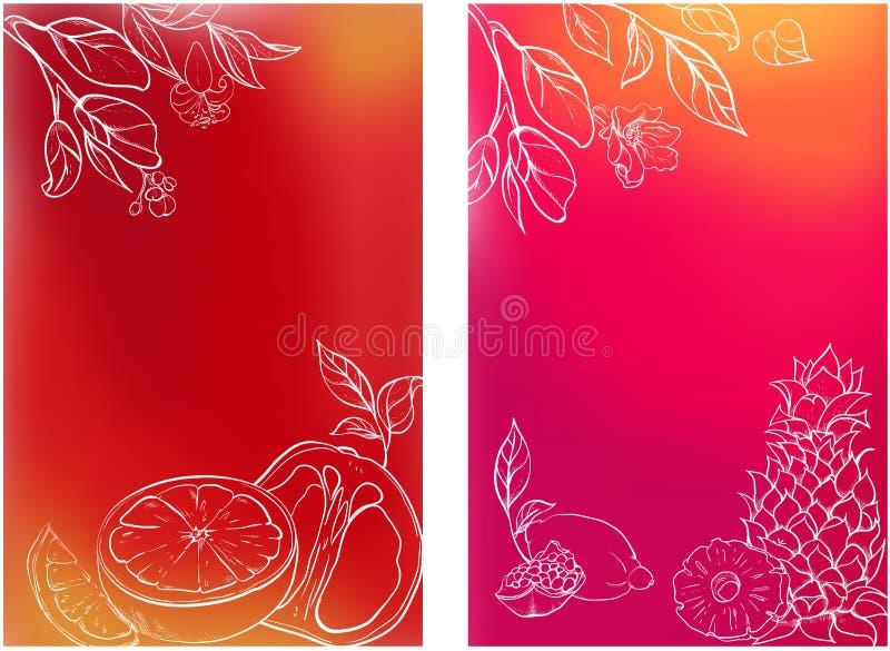 Milieux lumineux avec les fruits tropicaux illustration de vecteur