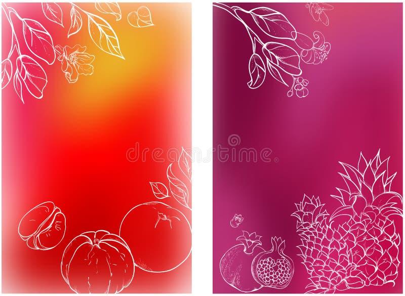 Milieux lumineux avec les fruits tropicaux illustration libre de droits