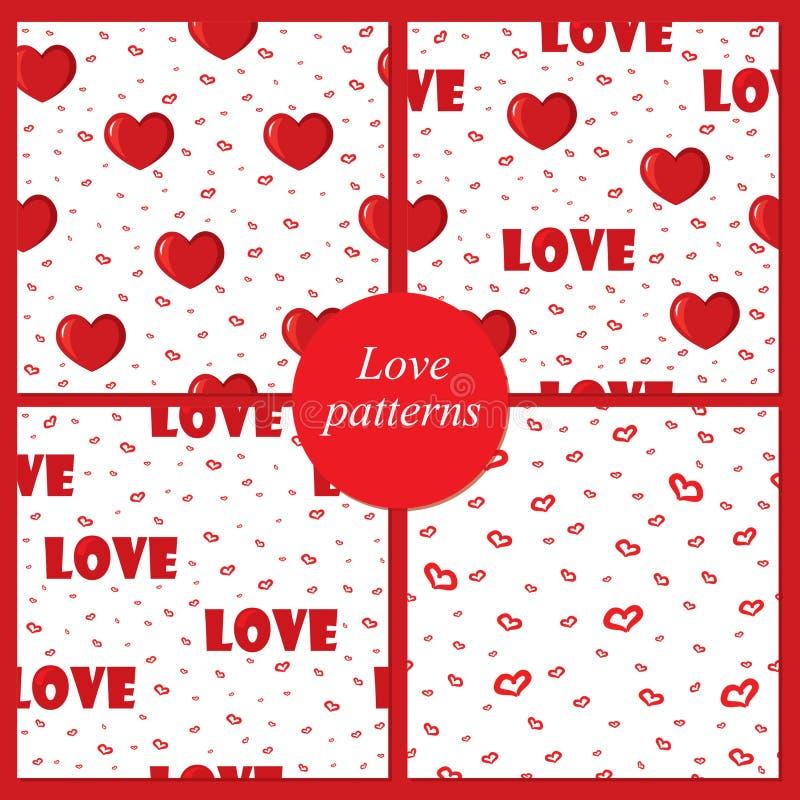 Milieux mignons avec l'amour et les coeurs pour la Saint-Valentin, modèles sans couture illustration de vecteur
