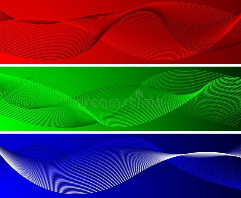 Milieux ondulés verts et bleus rouges illustration de vecteur