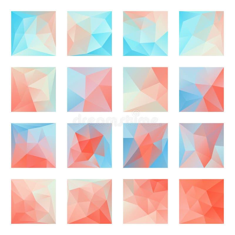 Milieux polygonaux roses bleus de mosaïque de grand ensemble, bas poly style, illustration de vecteur, grand élément de conceptio illustration de vecteur
