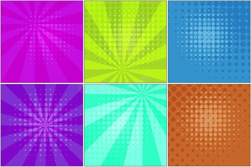 Milieux rayés lumineux pour les bulles comiques illustration stock