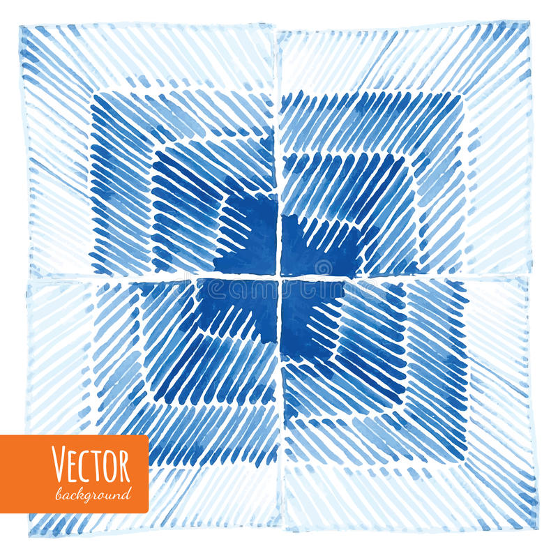 Milieux teints par lien abstrait d'aquarelle de shibori illustration de vecteur