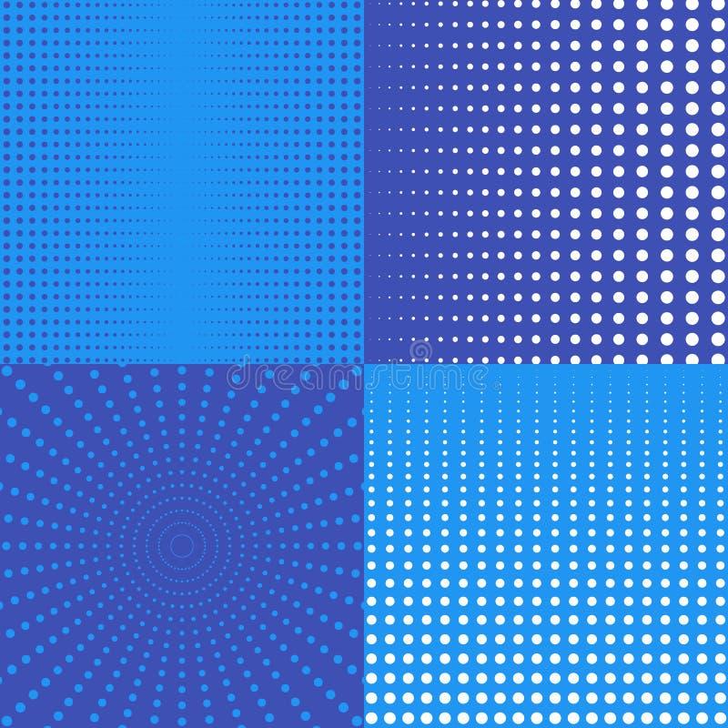 Milieux tramés avec des points dans le bleu illustration de vecteur
