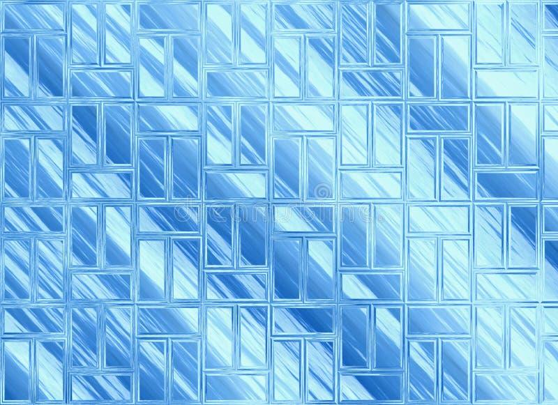Milieux transparents bleus abstraits en verre de fenêtres illustration stock