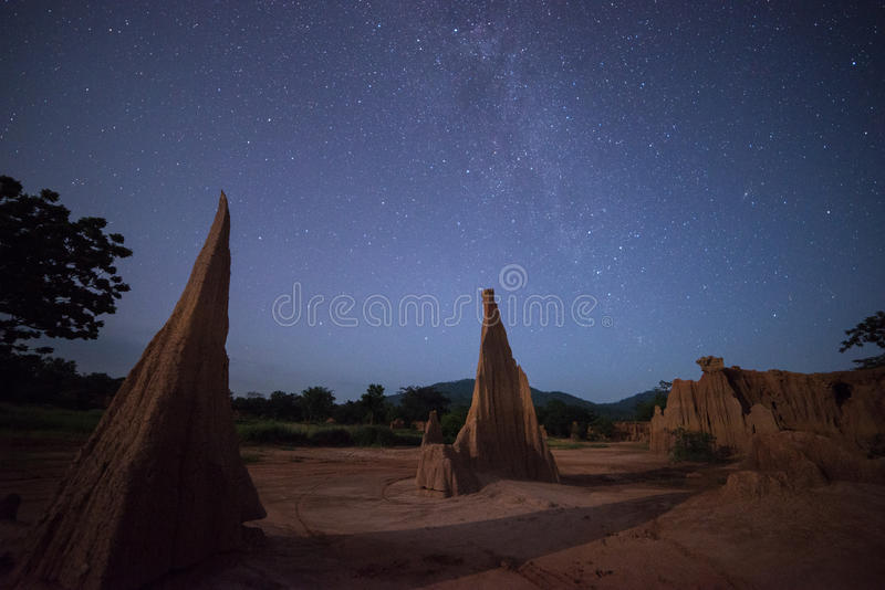 Miliky way, night sky in Grand Canyon Thailand. Grand Canyon Thailand, Sculpture beautiful natural wonders of the collapse of the sandy ground in Lalu, Sa Kaeo royalty free stock images
