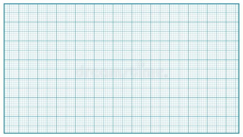 Milimetru Papierowy wektor błękitny Graphing papier Dla edukaci, Rysuje projekty Klasyczna wykres siatki papieru miara ilustracja wektor