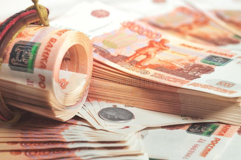 Milion Rosyjskich rubli Pojęcie bogactwo, zyski, biznes i finanse, Pieniądze w pięć thousandth dużo wystawia rachunek banknoty obrazy royalty free