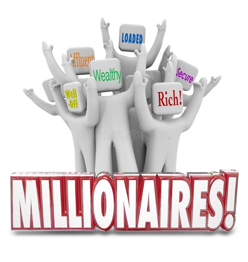 Milionerów ludzie Zarabia pieniądze Dostaje Bogatego Zamożnego bogaci royalty ilustracja