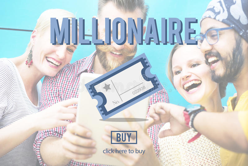 Milionera Nagrodzony Biletowy Loteryjny pojęcie zdjęcie stock