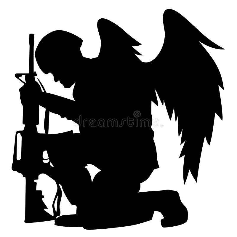 Militär-Angel Soldier With Wings Kneelings-Schattenbild-Vektor-Illustration stock abbildung