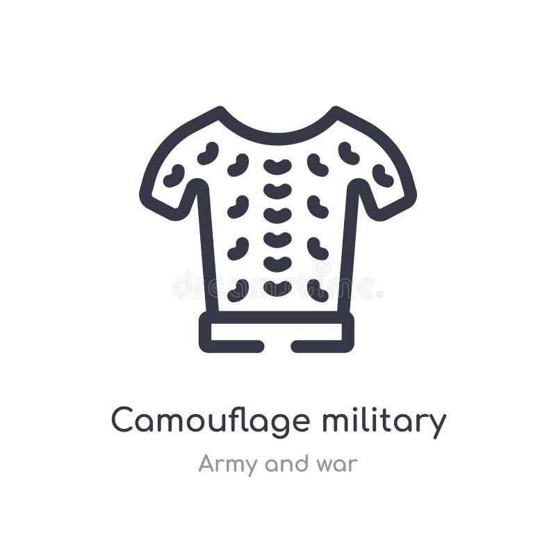 militär bekläda översiktssymbol för kamouflage isolerad linje vektorillustration fr?n arm?- och krigsamling redigerbar tunn slagl vektor illustrationer