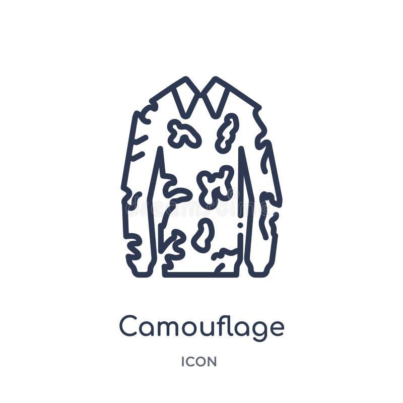 Militär bekläda symbol för linjär kamouflage från armé- och krigöversiktssamling Tunn linje militär bekläda vektor för kamouflage royaltyfri illustrationer