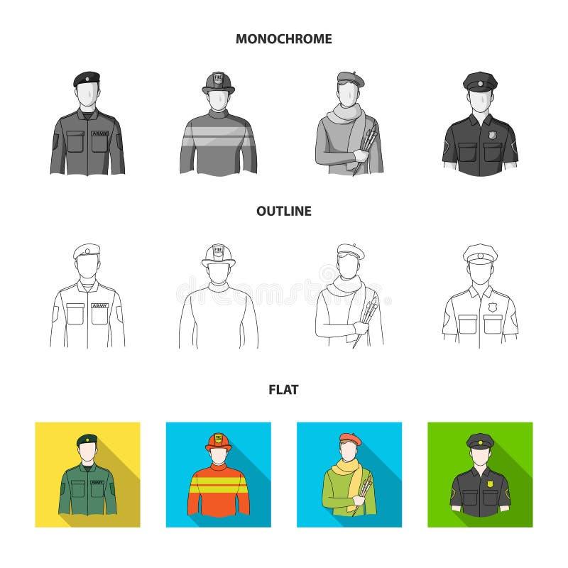 Militär brandman, konstnär, polis Fastställda samlingssymboler för yrke i lägenheten, översikt, monokromt stilvektorsymbol royaltyfri illustrationer