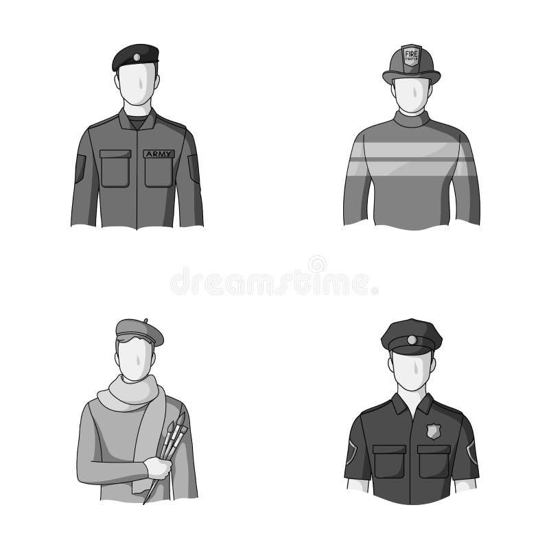 Militär brandman, konstnär, polis Fastställda samlingssymboler för yrke i monokromt materiel för stilvektorsymbol stock illustrationer