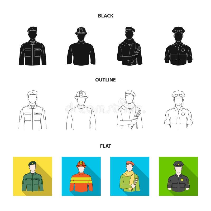 Militär brandman, konstnär, polis Fastställda samlingssymboler för yrke i svart, lägenhet, materiel för symbol för översiktsstilv stock illustrationer